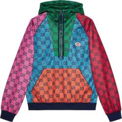 Gucci Multicolor Gg Colorblock Half Zip Hoodie 661175xjdlr3653