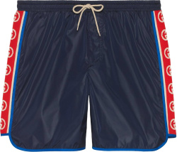 Gucci Navy And Gg Side Stripe Swim Shorts