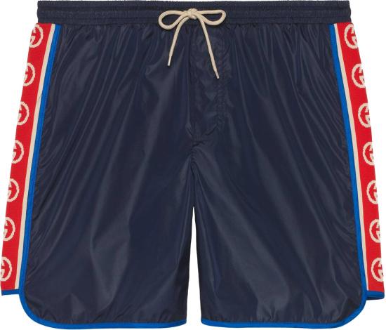 Gucci Navy And Gg Side Stripe Swim Shorts