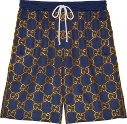 Gucci Navy And Gold Crystal Gg Shorts 655149xjdf34030