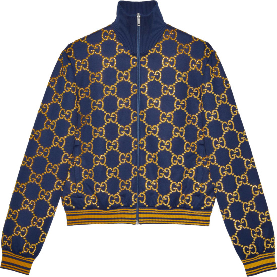 Gucci Navy And Gold Crystal Gg Track Jacket 655159xjdf34030