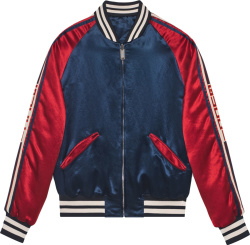 Gucci Navy And Red Acetate Bomber Jacket