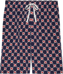Gucci Navy And Red Hexagon Gg Shorts