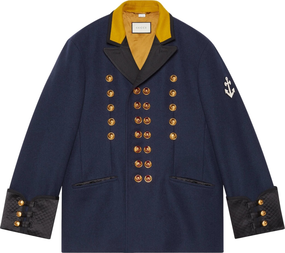 Double-Breasted Navy Military Coat