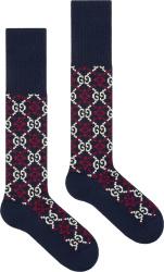 Gucci Navy Gg Diamond Socks