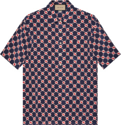 Gucci Navy Red And White Hexagon Gg Logo Hawaiian Shirt 654887zaf9w4759