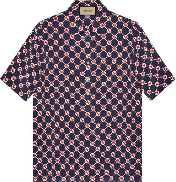 Gucci Navy Red And White Hexagon Gg Logo Hawaiian Shirt 654887zaf9w4759