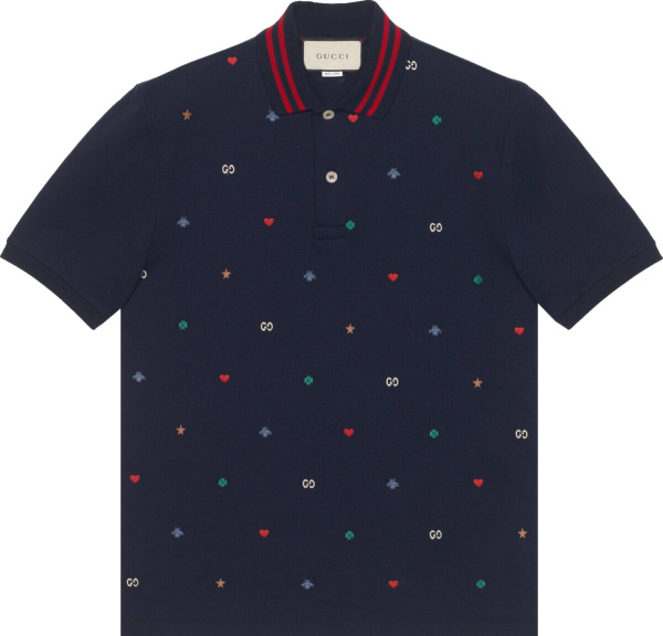 Gucci Navy Symbols Embroidered Polo Shirt