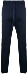 Gucci Navy Web Detail Trousers With Thin Red Side Stripe