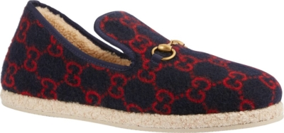 Gucci Navy Wool Loafers