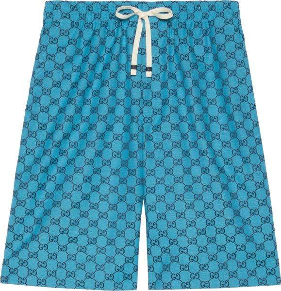 Gucci Neon Blue And Black Navy Gg Canvas Shorts 658089z8aog4336