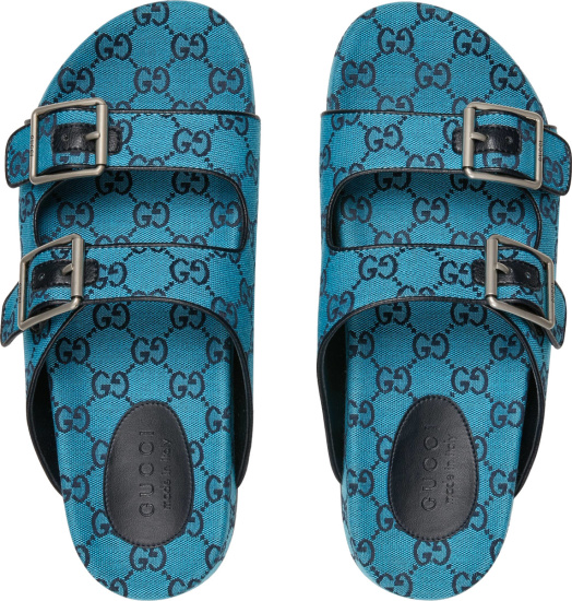 Gucci Neon Blue And Navy Gg Monogram Sandals