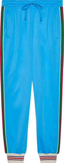 Gucci Neon Blue And Side Stripe Trackpants 650038 Xjc5n 4670