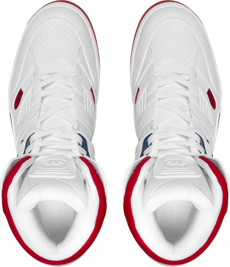Gucci North America Exclusive White And Red High Top Basket Sneakers