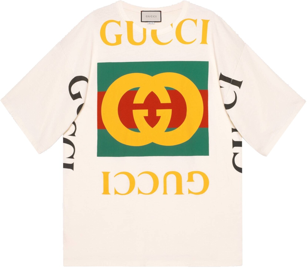 Gucci Oversized Logo Print White Shirt