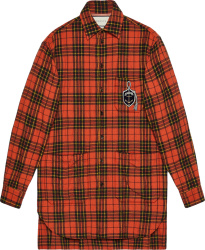 Gucci Oversized Red Check Anchor Patch Shirt