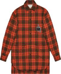 Orange Check Anchor-Patch Shirt