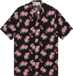 Gucci Peony Print Black Shirt