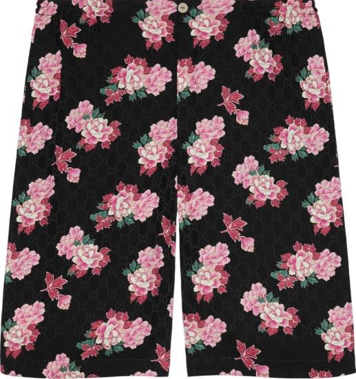 Gucci Peony Print Black Shorts