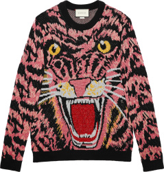 Gucci Pink And Black Allvoer Tiger Sweater