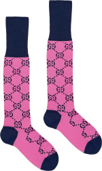 Gucci Pink And Navy Gg Logo Jacquard Socks 4763363g7015800