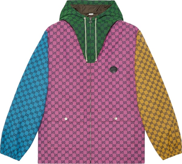 Gucci Pink Colorblock Gg Canvas Hooded Jacket 658115z8aoh5371
