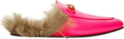 Gucci Pink Fluorescent Princetown Loafers