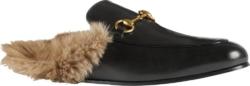 Gucci Princeston Black Leather Slippers