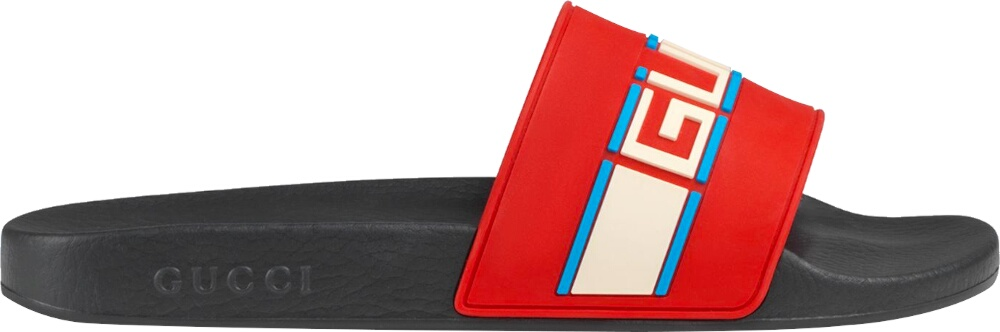 'Pursuit' Stripe Red Slides