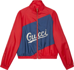 Gucci Red And Blue Script Logo Windbreaker Jacket