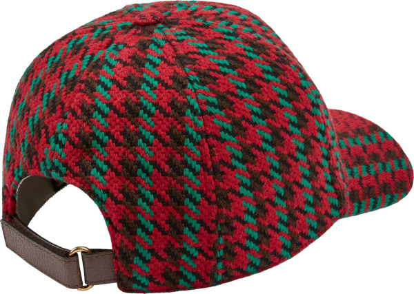 Gucci Red And Green Houndstooth Baseball Cap