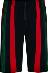 Gucci Red And Green Striped Black Shorts