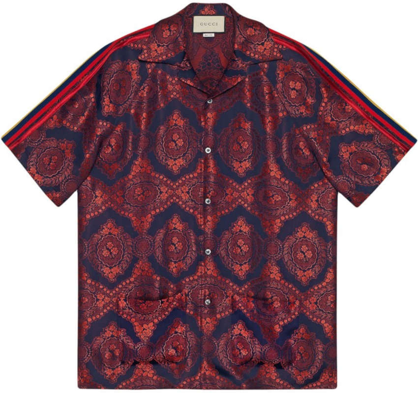 Gucci Red And Navy Baroque Jacquard Bowling Shirt With Side Stripes Worn By Jacquees