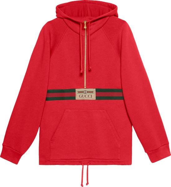 Gucci Red And Web Stripe Half Zip Hoodie