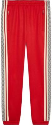 Gucci Red Logo Motif Stripe Track Pants