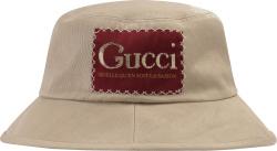 Gucci Red Logo Patch Beige Bucket Hat