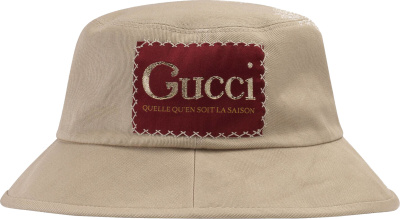 Gucci Red Logo Patch Beige Bucket Hat