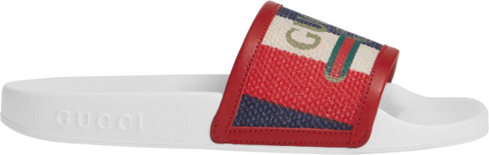 Gucci Red White Blue Striped Canvas Slides