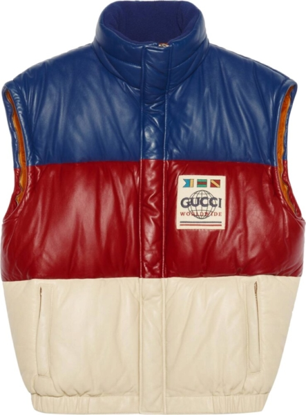 Gucci Red White Blue Striped Leather Puffer Vest
