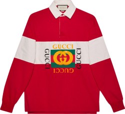 Gucci Red White Striped Rugby Polo Shirt