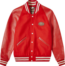 Gucci Red Wool And Leather Horsebit Varsity Jacket