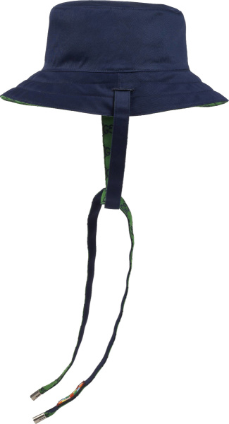 Gucci Reversible Green Gg And Navy Bucket Hat 6538574hafk4067