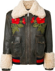 Gucci Shearling Lined Embroidered Brown Leather Jacket