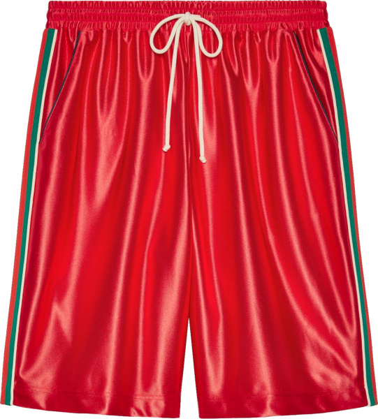 Gucci Shiny Red And Web Stripe Gym Shorts 659460xjdi96429