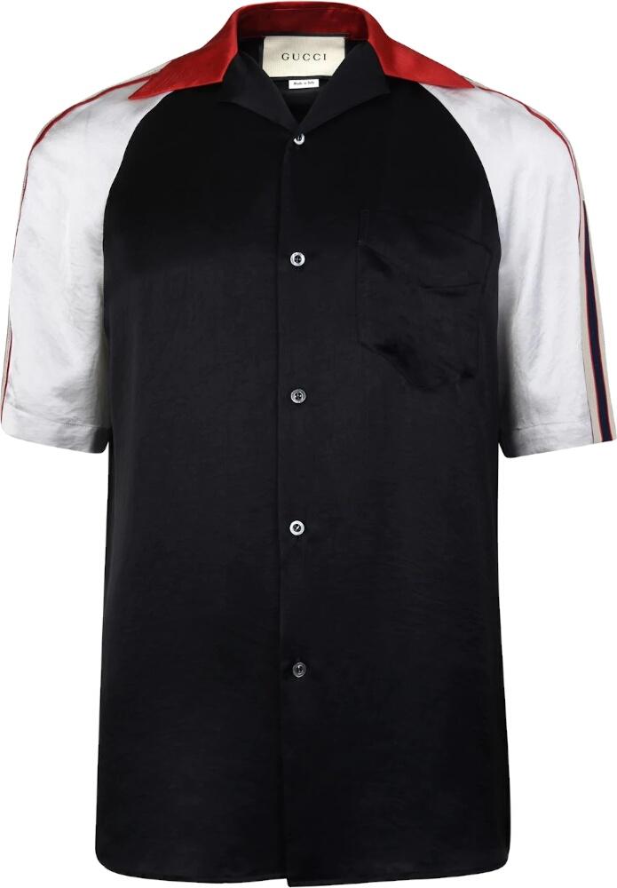 Side Stripe Black Bowling Shirt