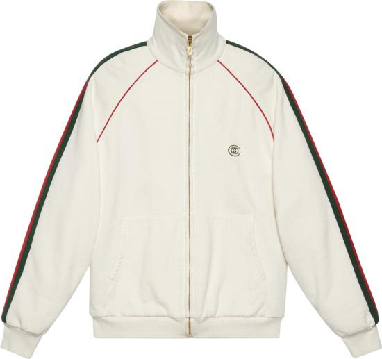 Gucci Side Stripe White Track Jacket 625405 Xjcoe 9146