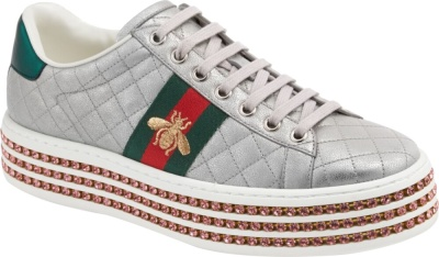 Gucci Silver Quilted 'ace' Platform Sneakers