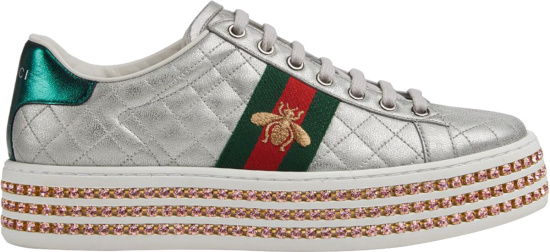 Gucci Silver Quilted Crystal Embellished Platform Sneakers