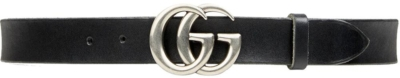 Gucci Silver Tone Gg Buckle Black Leather Belt