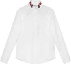 Gucci Snake Embroidered White Cotton Shirt